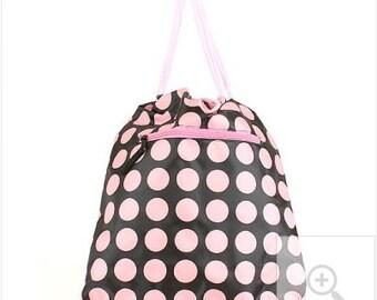 Monogrammed Pink and Black Polkadot Sling Backpack