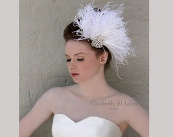 FLUTTER -Ostrich feather and crystal rhinestone headpiece