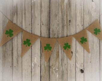 Shamrock Garland St Patricks Day Banner Shamrock Banner Shamrock Bunting Irish Decor St Patricks Day Decor Spring Banner Patricks Party