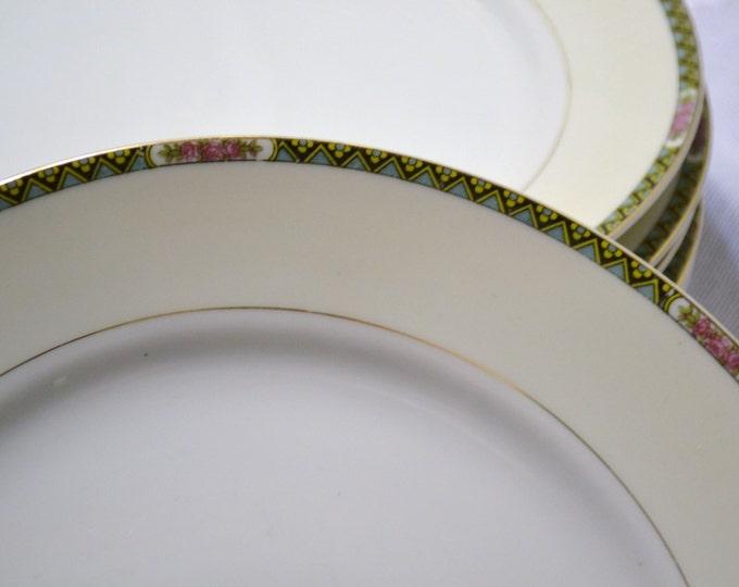 Vintage Noritake Vassar Salad Luncheon Plate Set of 7 Japan Geometric Flowers Replacement PanchosPorch