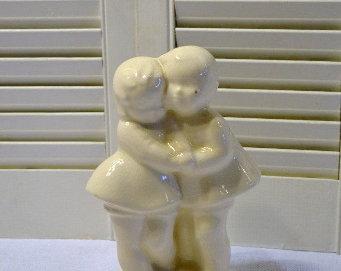 Vintage Boy and Girl Planter White Pottery Couple Wedding Engagement PanchosPorch