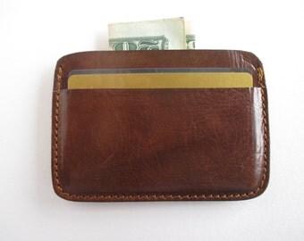 Leather credit card holder in dark cognac, minimalist wallet