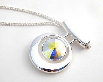 Crystal Bridal Necklace, Swarovski Rivoli Necklace, Crystal Bridesmaid Necklace, crystal jewelry, aurora borealis