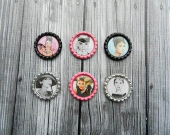 Set of 6 Audrey Hepburn Magnets