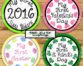 First Holidays Baby Month Stickers My First Stickers Baby Shower gift Baby's first Infant month stickers Baby Girl Onepiece yearly stickers