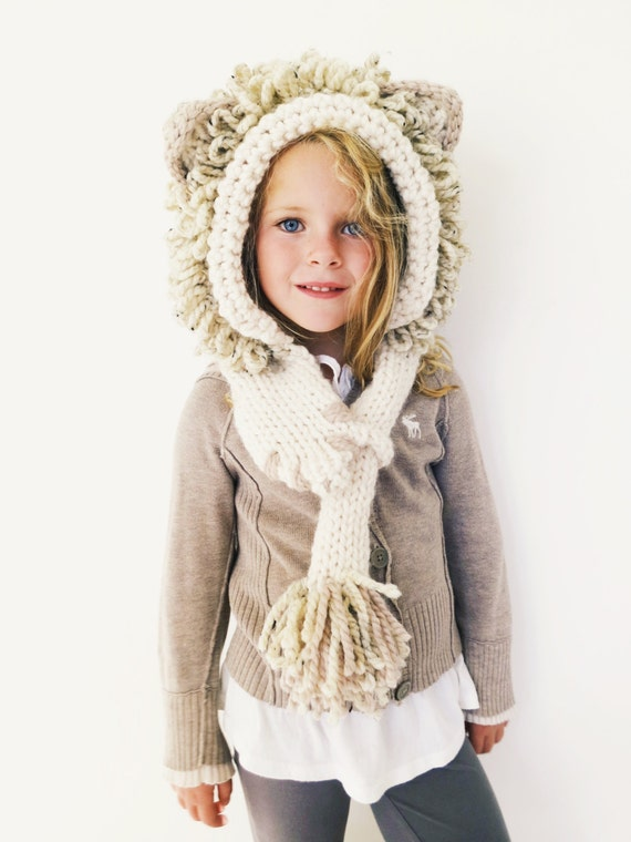 PATTERN for Lion Hat Hood Cowl Scarf Knit Toddler Child ...