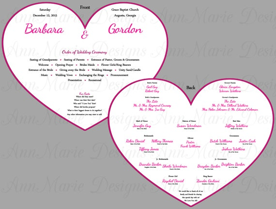 Heart Shaped wedding fan Program, Wedding program paddle fan style ...