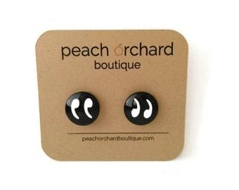 NEW Quotation Mark Stud Earrings- Nerd jewelry-Geek jewelry