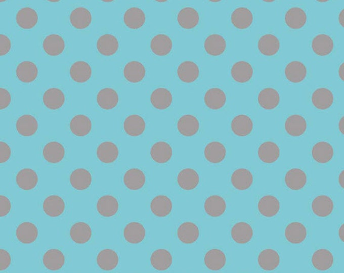 One Yard Medium Dots - Tone on Tone in Aqua and Gray - Cotton Quilt Fabric - C430-09 - RBD Designers for Riley Blake Designs (W2496)