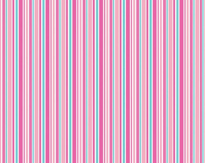 One Yard Lovey Dovey - Stripes in Pink - Cotton Quilt Fabric - C3656-PINK - by Doodlebug Designs for Riley Blake Designs (W2514)