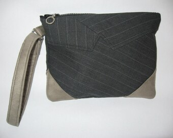 wristlet purse from recycled man's suit