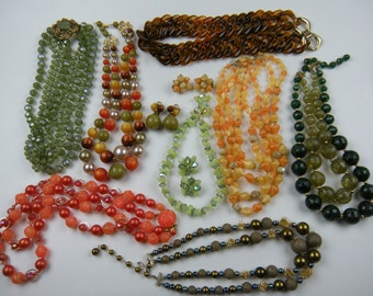 1950-1960 Lot of  Beaded Necklaces Some Signed West Germany, Japan, Laguna, Selini