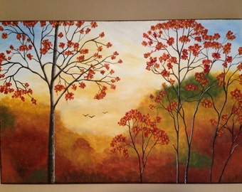 Fall painting, tree painting,fall colors,fall trees, forest painting,orange painting,yellow painting,landscape painting,fall l