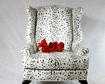 SOLD- CAN REPLICATE Dalmatian Fabric Faux Suede Wing Back Chair Animal Print Black and White Snow Leopard