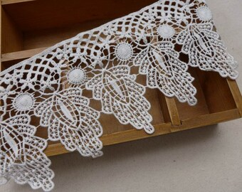 Cotton Lace Vintage Crochet Lace Off White Hollowed Lace Trim 4.52 Inches wide 1 Yard
