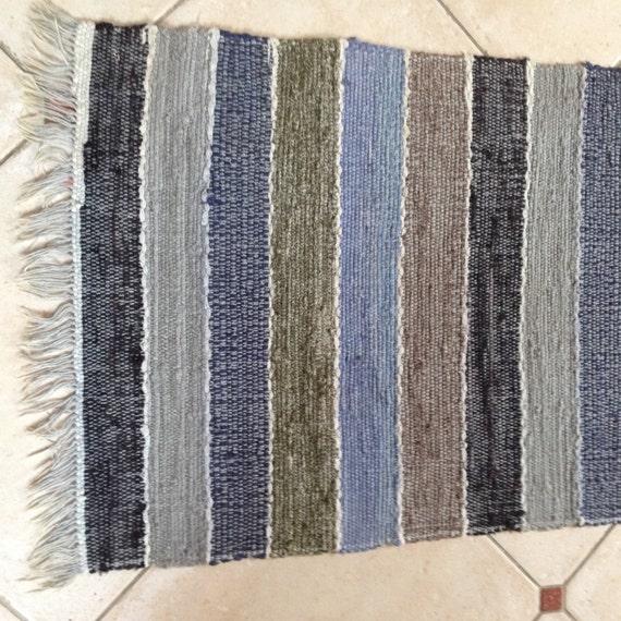 Vintage Swedish Rag Rug In Grey Black Blue And By