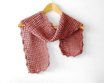 crochet silk scarf, bridal scarflette, filet crochet, summer fishnet scarf, antique rose pink scarf  by cosediisa