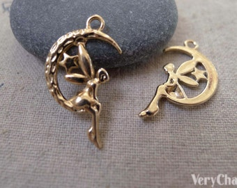 20 pcs Rose Gold Tone Fairy Angel On Crescent Moon Charms Pendants  A7413
