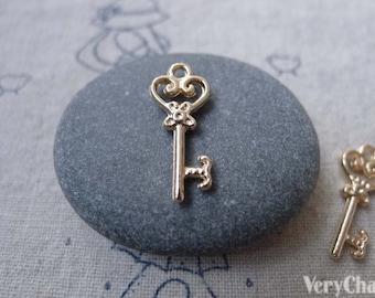 20 pcs of KC Gold Tone Skeleton Key Heart Key Charms 9x21mm A7583