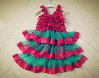 Christmas Ruffle Dress w/ matching headband- Infant & Toddler Christmas Dress