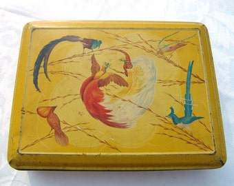 French vintage tin box with  blue and red birds decor,yellow tin box , tea box,coffee box,sugar box