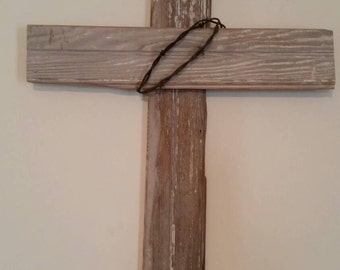 Reclaimed Wood Cross with Barb Wire