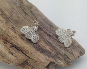 Fine Silver Buzzy Bee Stud Earrings