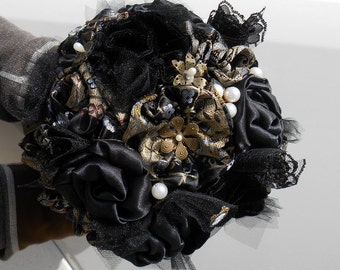 Wedding Bouquet, Bridal Bouquet, Fabric Bouquet, Steampunk Bouquet, Black Velvet Bouquet. Brocade Bouquet