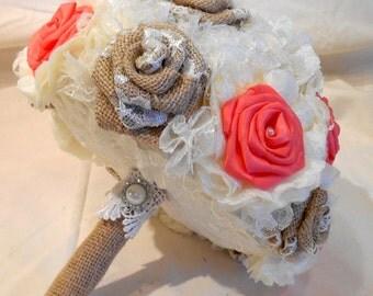 Wedding Bouquet, Bridal Bouquet, Keepsake Bouquet, Fabric Bouquet, Rustic Bouquet, Shabby Chic, Burlap and Lace, Coral