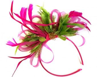 Fuchsia Pink & Lime Green Feathers Fascinator on Headband