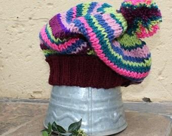 Slouchy beanie , Boho hat , Slouchy hat , Slouch beanie , Slouchy knit hat , Large pom pom beanie , Boho hat , Hippie beanie.