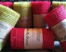 Burlap Ribbon // Red and Green Burlap Frayed Ribbon // Gift Wrapping Supplies // Wedding Accessories