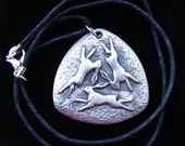 """THREE HARES PENDANT  Pagan  Pewter  Wicca  Celtic Black 18"""" cord"""