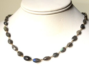 Labradorite Gold Chain Necklace, Faceted Oval Labradorite Chain Necklace in Gold