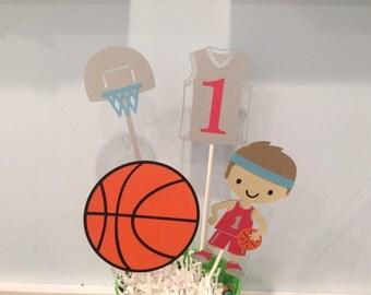 Basketball Centerpiece  - Baby Shower - Happy Birthday Banner - Sports Birthday