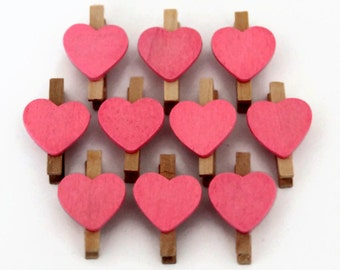 10 Mini Heart Pegs - 30mm x 18mm - Memo Favours - Valentine Heart Pegs - Pink Peg Favors - Peg Clips - Wedding Place Cards OC37