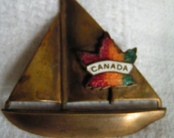 Antique Vintage Brass and Enamel Sailboat Canada Brooch with C Clasp Closure Wonderful Patina