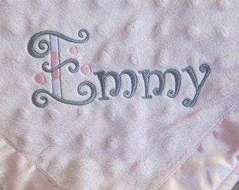 Personalized Embroidered Minky Baby Blanket /  Baby's name in your choice of  thread colors for a one-of-a-kind  keepsake for years to come!