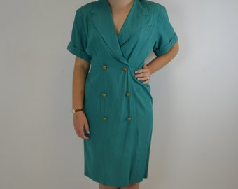 1980's Turquoise Tailored Look Dress