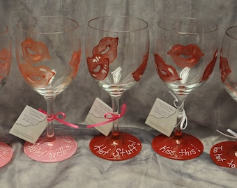 Hand painted Glittered Lips Wine Glass