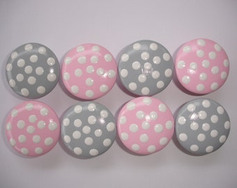 Set of 8 Hand Painted Pink and Gray Dresser Drawer Knobs with White Polka Dots
