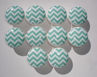 Aqua Chevron Dresser Drawer Knobs-Set of 10