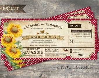 Sunflowers Gingham Check And Rooster Country Picnic Bridal Shower Or Wedding Invitation Card