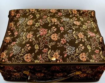 Vintage brocade black floral folding suitcase/overnight bag.