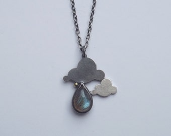 40% OFF Handmade Oxidised Silver  Double Cloud Pendant with Labradorite Drop