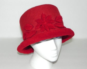 Vintage 70s Ophelie Hat Bucket Style Red 100% Wool