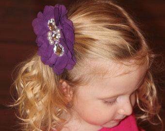 Purple flower headband - Purple flower hairclip