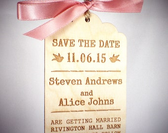 Vintage Luggage Tag Save the Date