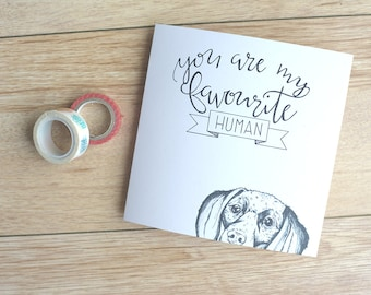 Dachshund Illustrated greetings card, cute sausage dog card for Valentine's day, anniversary card or birthday card