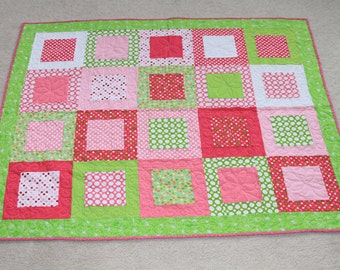 Pink and Green Polka Dot Quilt